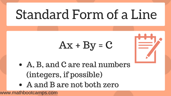 Standard Form Of A Line With Examples Mathbootcamps