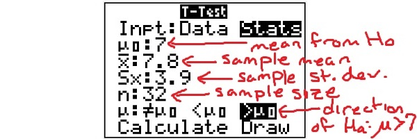 t-test for the mean using a TI83 or TI84 calculator (p-value ...